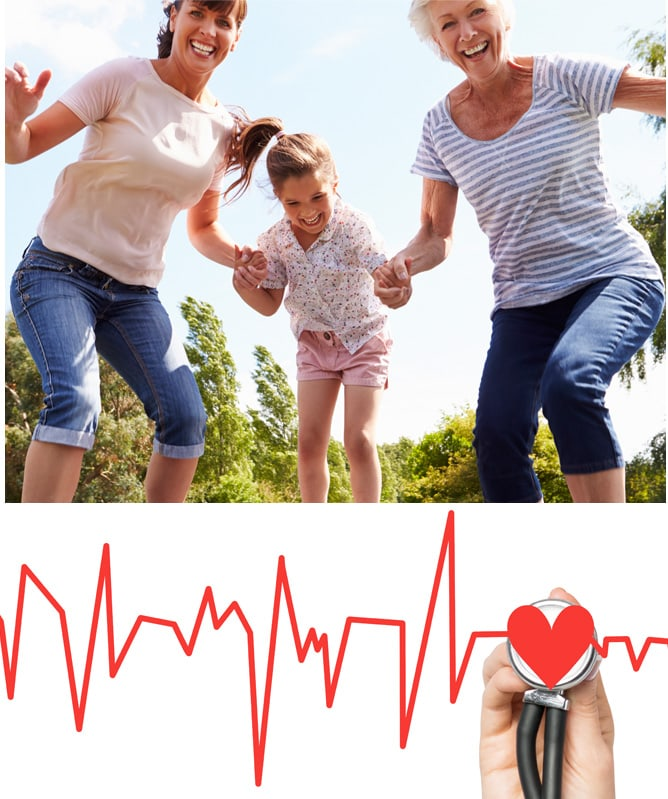 a small girl holding hands with a mother and grandmother as they jump on a trampoline below is a red graph of heart beat and a stethoscope