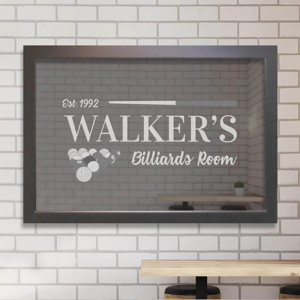 Personalized billiards bar mirror