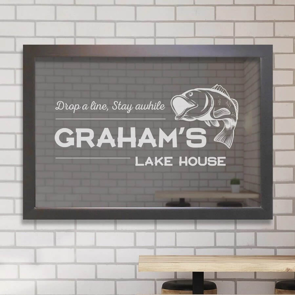 Personalized fishing bar mirror