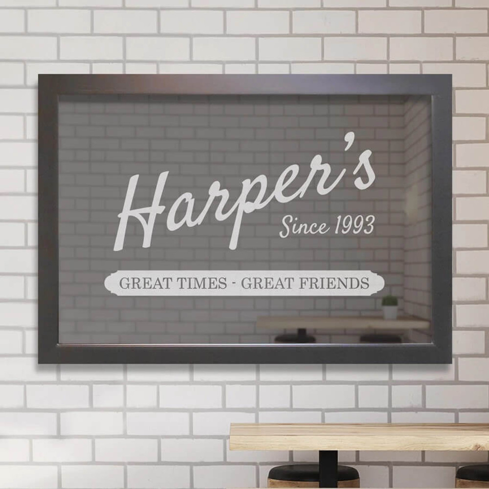 Personalized bar mirror with name