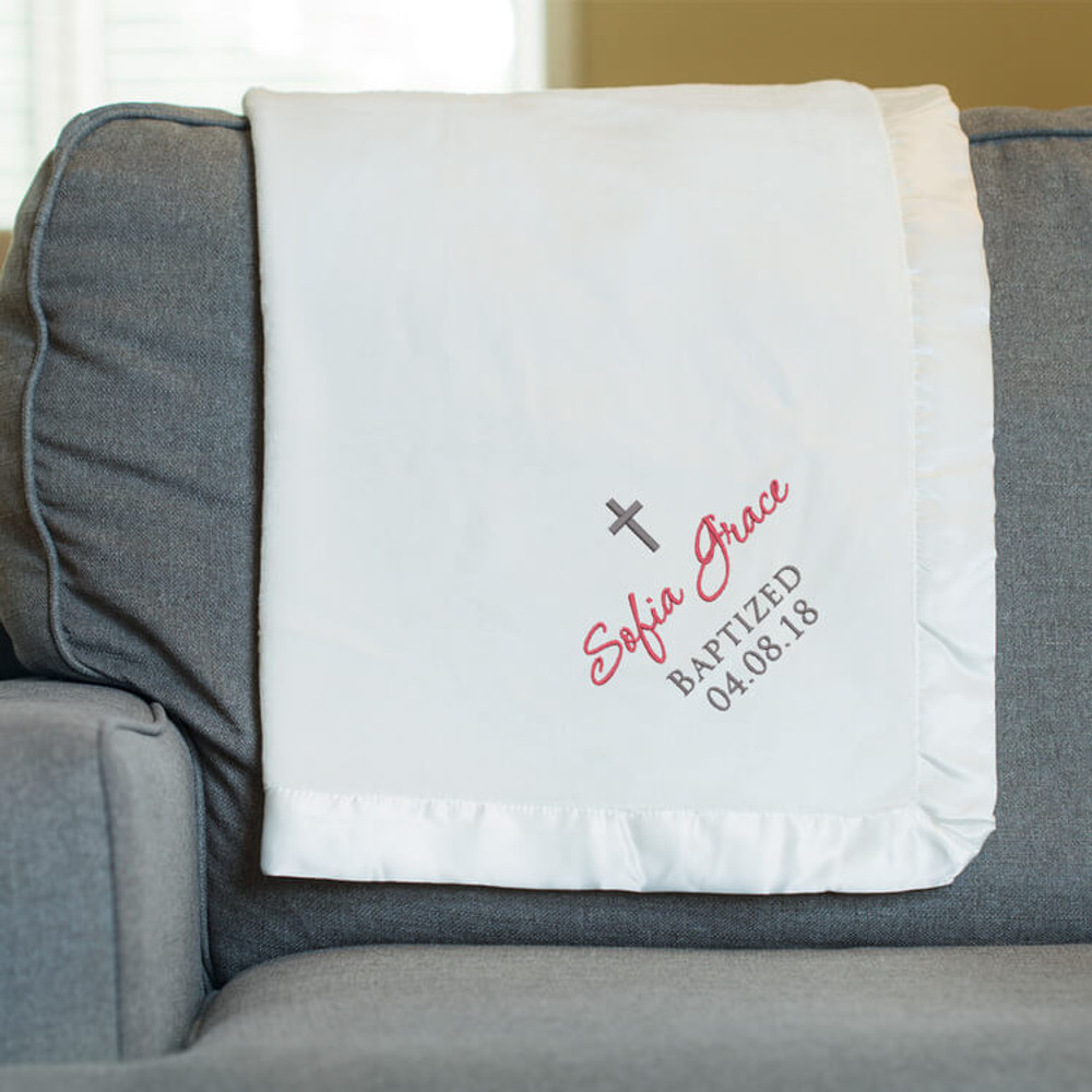 Personalized Embroidered Baptism Blanket