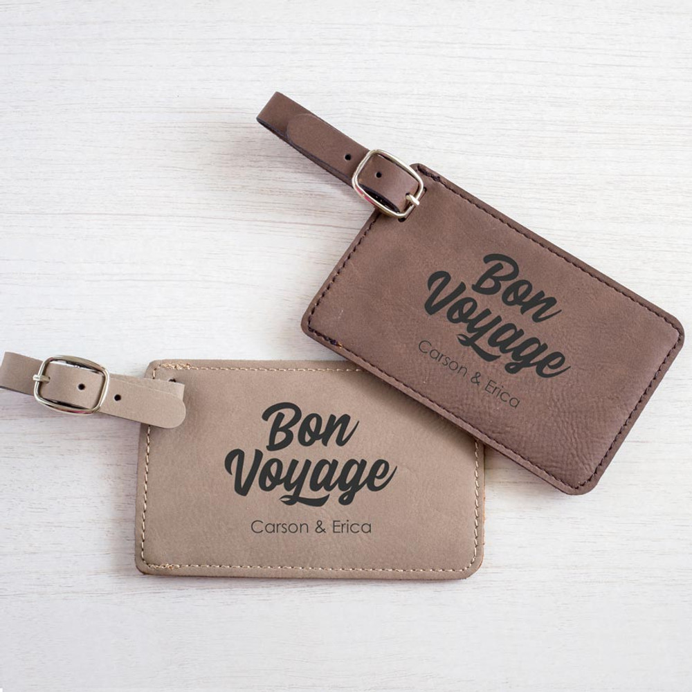 Personalized Couple Luggage Tags Bon Voyage Pair