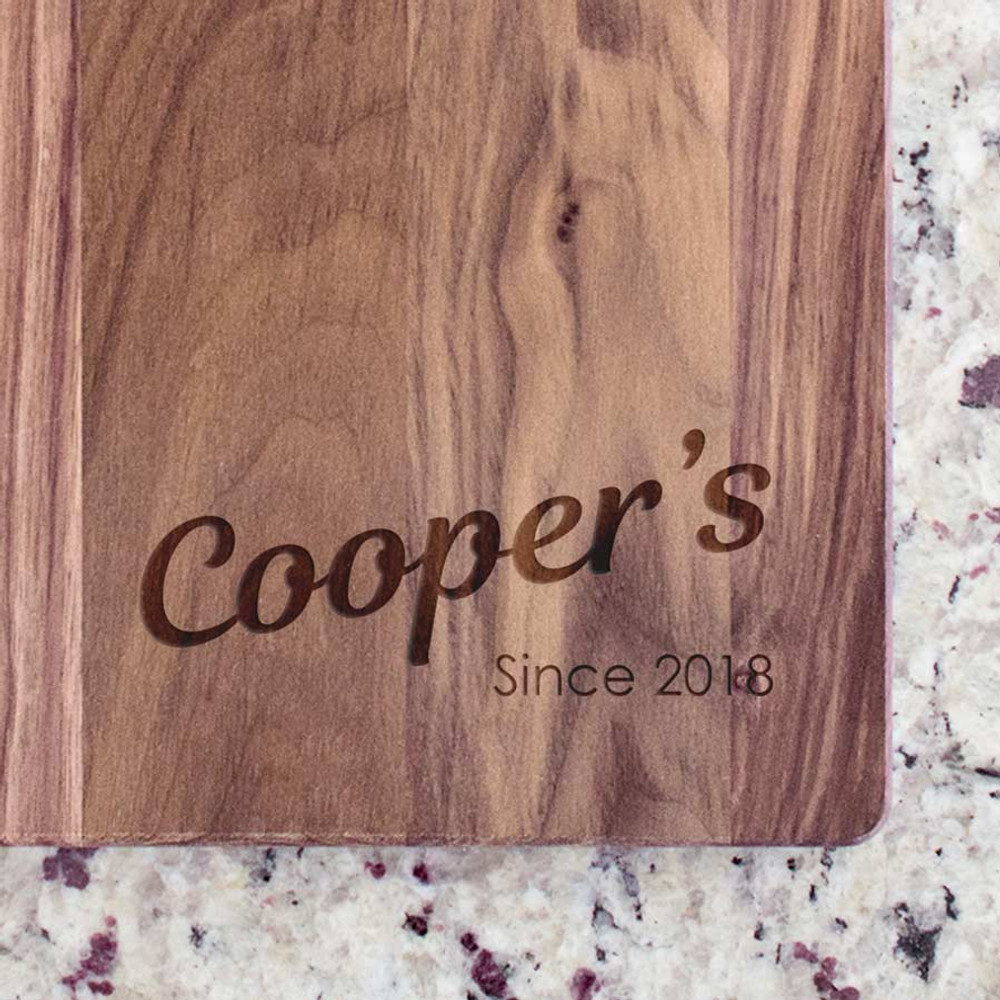 Engraved cutting board - modern name