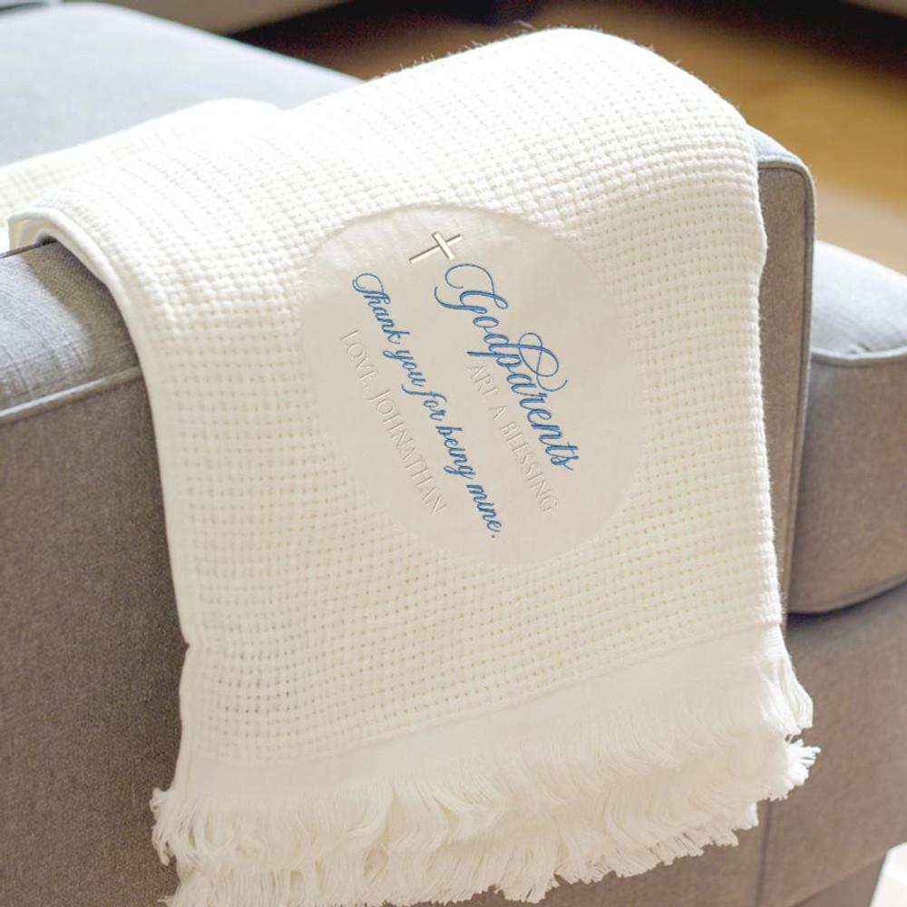 Embroidered Godparents blanket gift