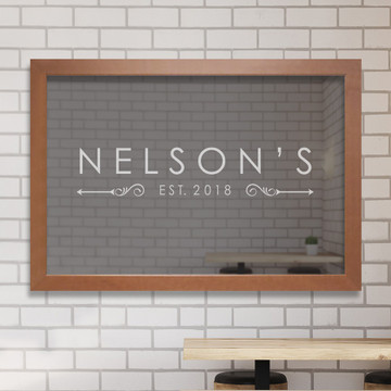 Custom engraved contemporary name bar mirror