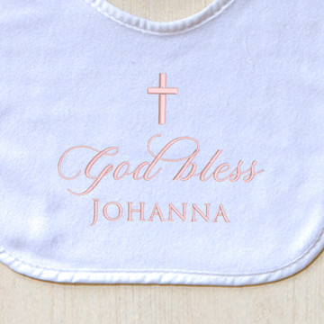 Embroidered Baptism Baby Bib closeup