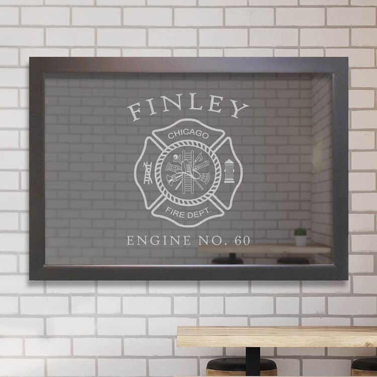 Custom firefighter bar mirror