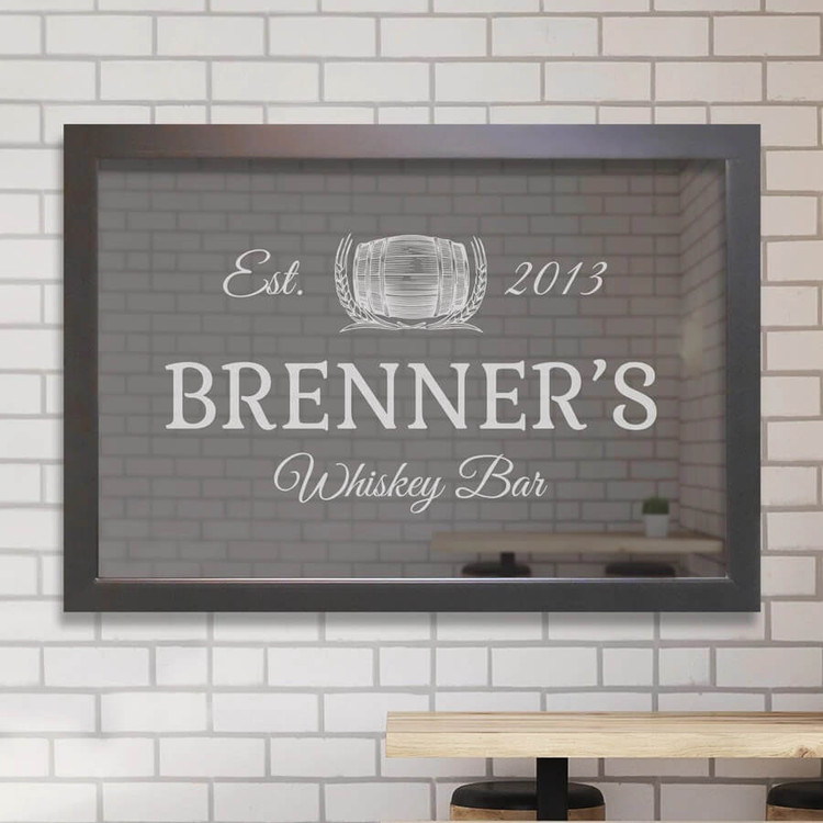 Custom engraved whiskey bar mirror