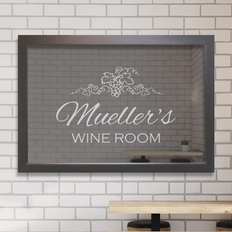 Custom engraved wine room mirror