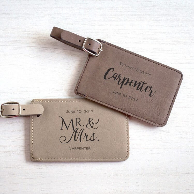 Personalized wedding luggage tag favors