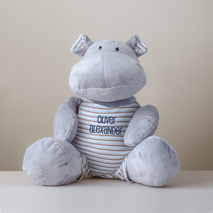 Embroidered large plush hippo