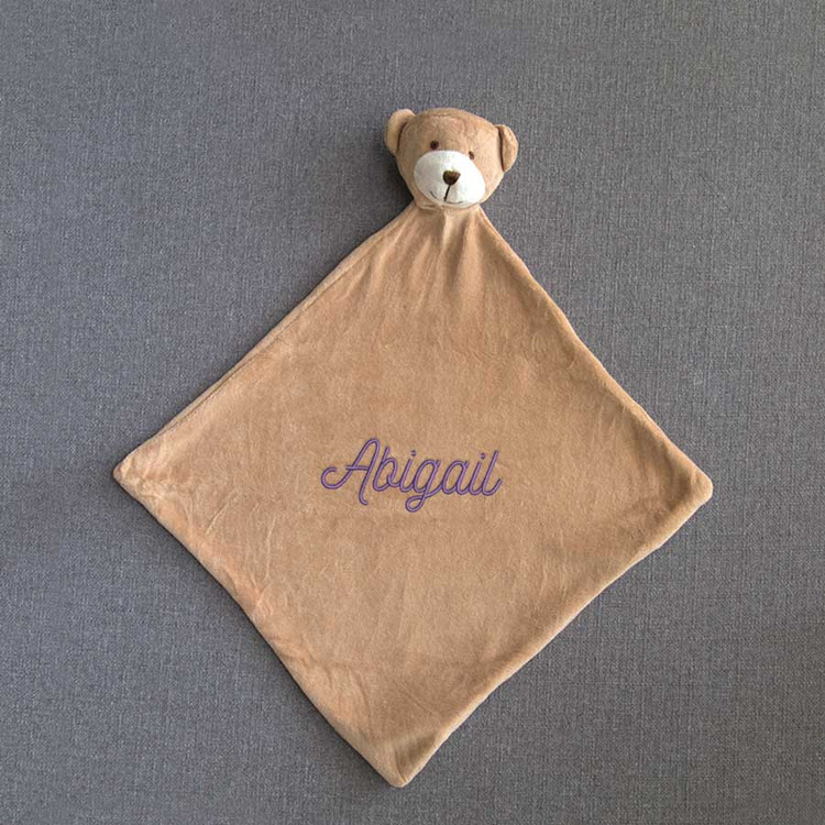 Embroidered Brown Bear Baby Blankie