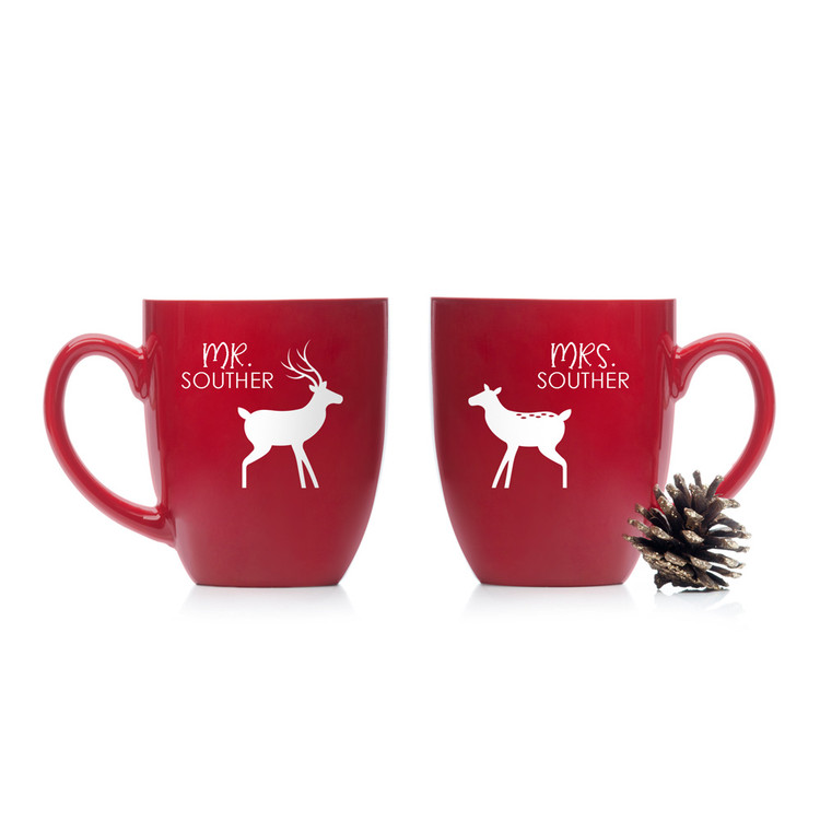 Personalized Mr and Mrs Christmas Coffee Mugs