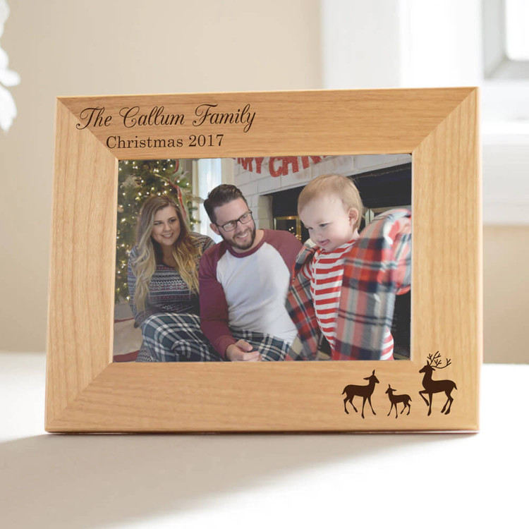 Personalized reindeer family Christmas frame.