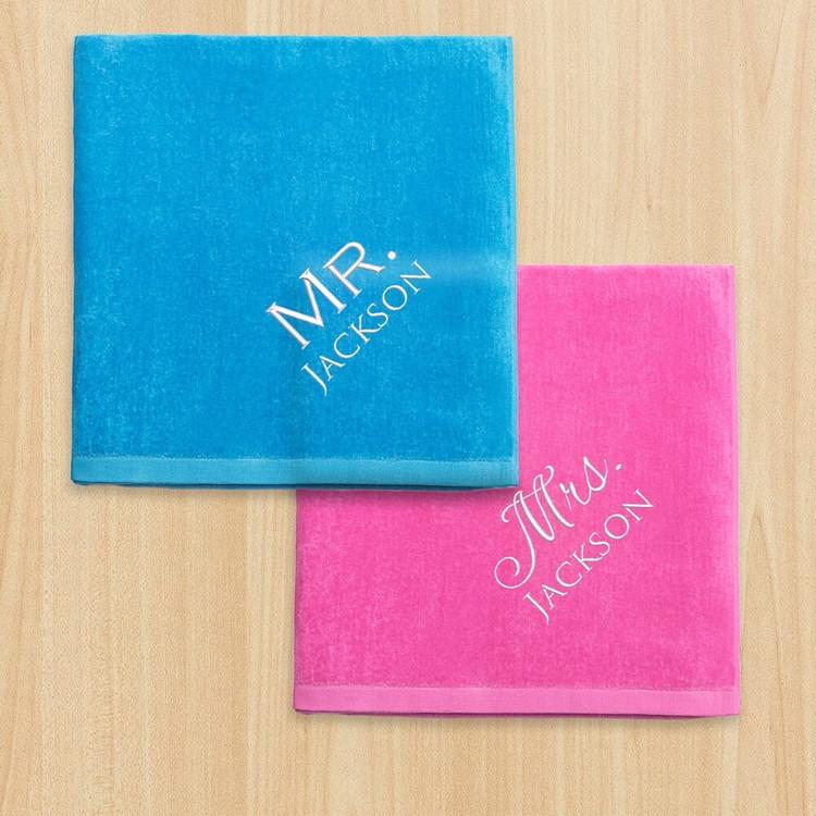 Personalized Mr. & Mrs. Beach Towel Set