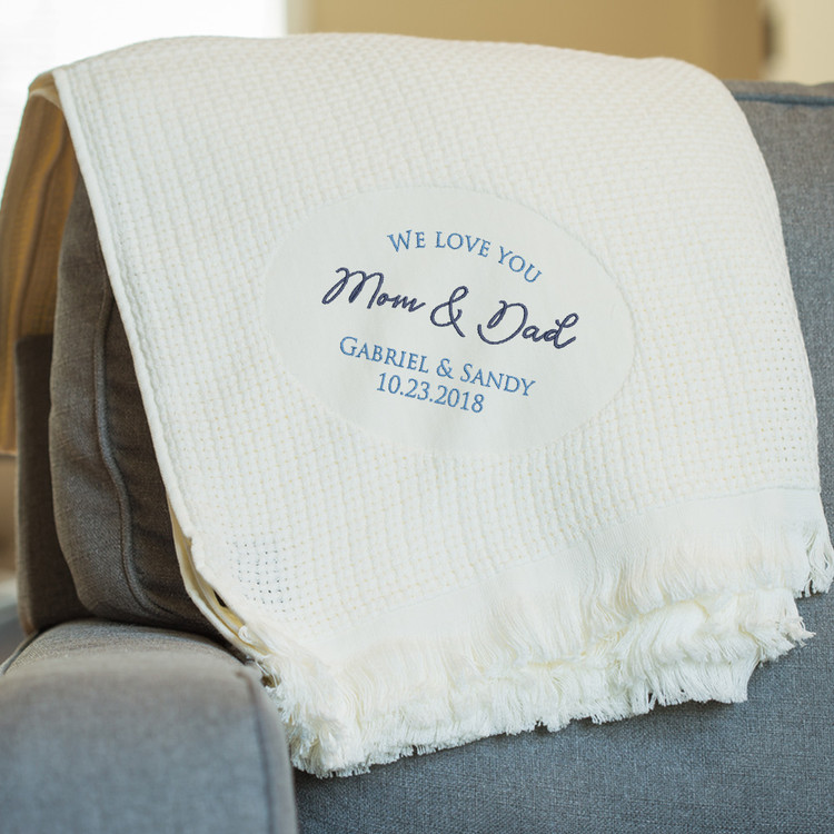 Embroidered Personalized Parents of the Bride & Groom Blanket