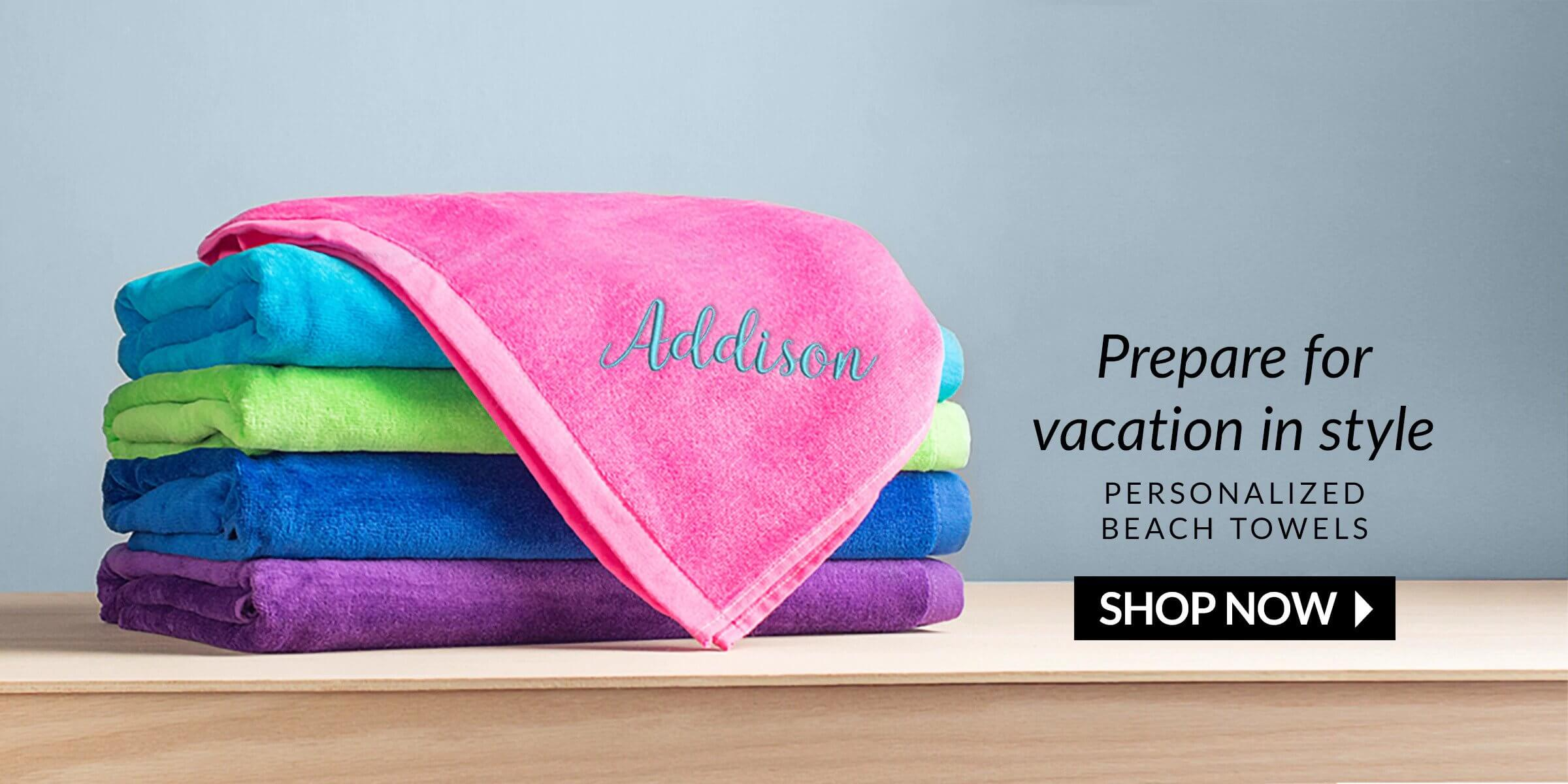 personalized beach towels banner