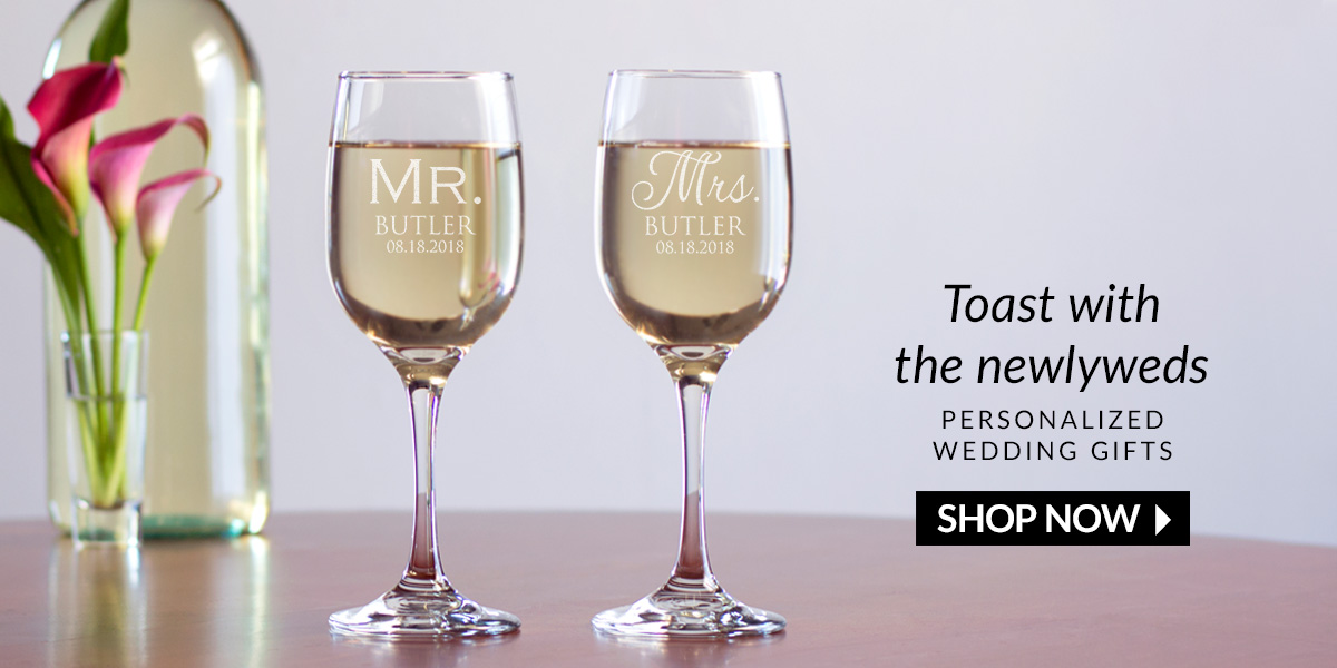 Toast with the newlyweds. Shop personalized wedding gifts now.