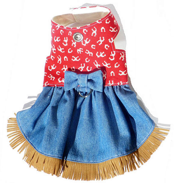 Western Red Horseshoe and Denim Harness Dog Dress