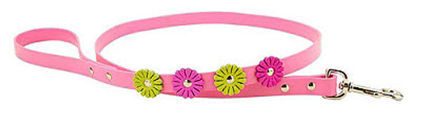 Pink Flower Leather Dog Leash