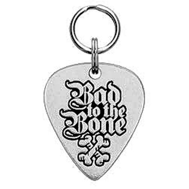 Bad to the Bone Engravable Pewter Guitar Pick Dog Tag
