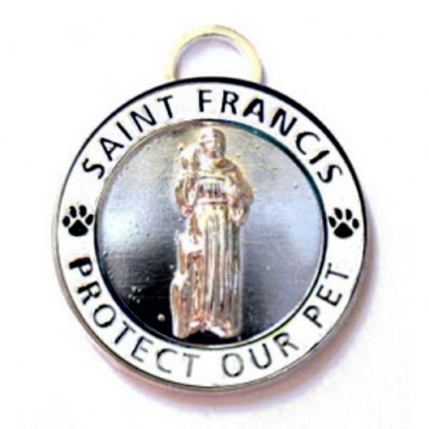 White St. Francis Medallion Pet Dog Dog ID Tag
