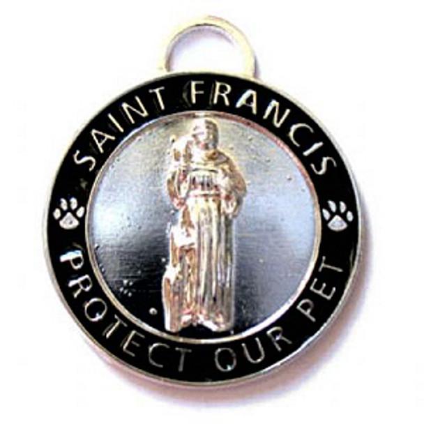 Black St. Francis Medallion Pet Dog Dog ID Tag