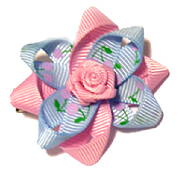 Pink and Blue Rosette Dog Hair Bow
