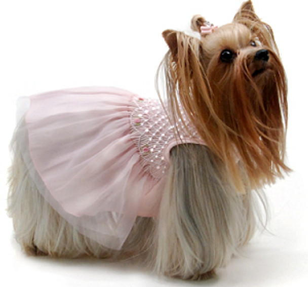 Prima Ballerina Hand-Smocked Dog Dress by Oscar Newman