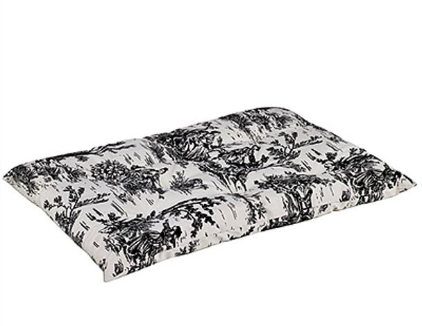 Onyx Black Toile Microvelvet Tufted Dog Cushion Mat