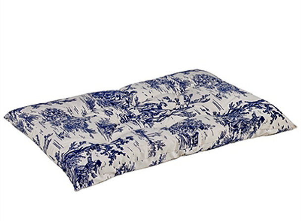Wedgewood Blue Toile Microvelvet Tufted Dog Cushion Mat