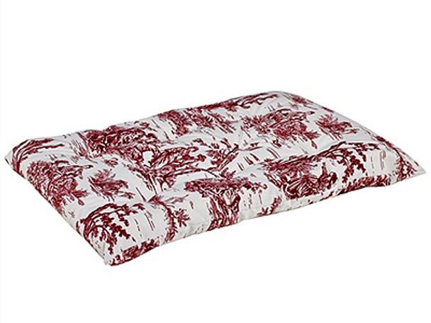 Raspberry Red Toile Microvelvet Tufted Dog Cushion Mat