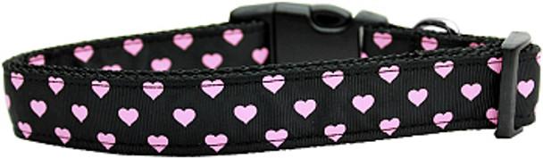 Pink Hearts on Black Nylon Dog Collar