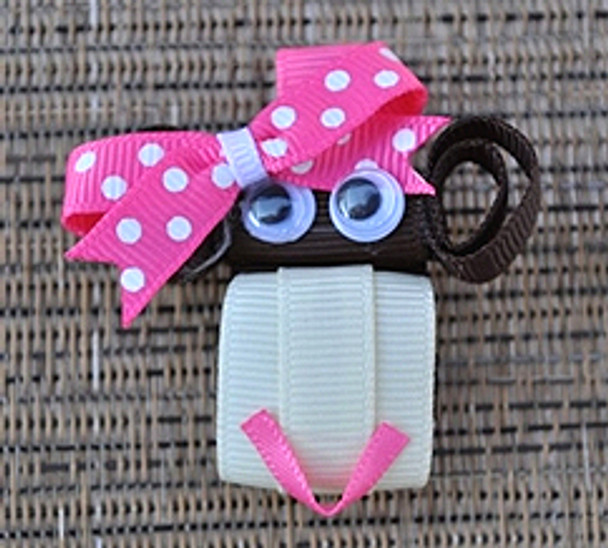 Pink Polka Dot Monkey Dog Hair Bow Barrette