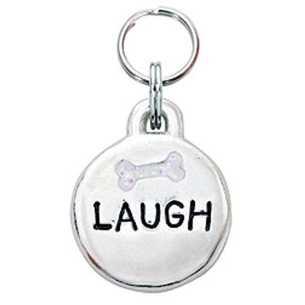 Pewter Engravable Laugh Pet ID Tag