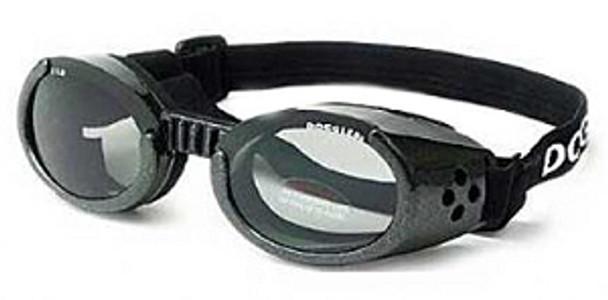 Metallic Black ILS Doggles with Light Smoke Lens Dog Sunglasses