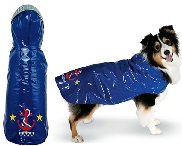 Anchor Navy Blue Nantucket Dog Slicker Raincoat