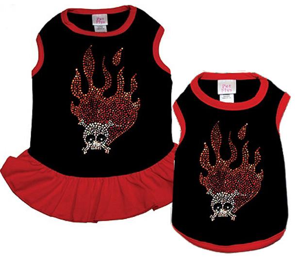 Flaming Skull Dog Tank or Dress