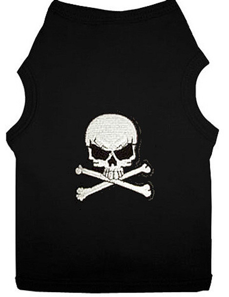 White Skull Patch Dog Tank T-shirt