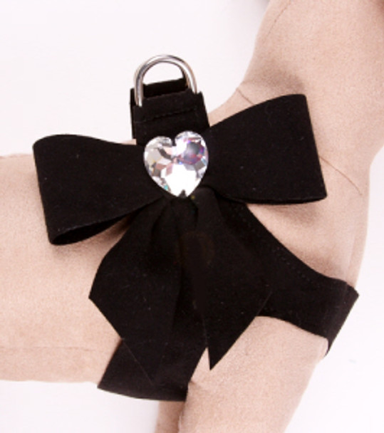 Susan Lanci Black Tail Bow Step-In Dog Harnesses