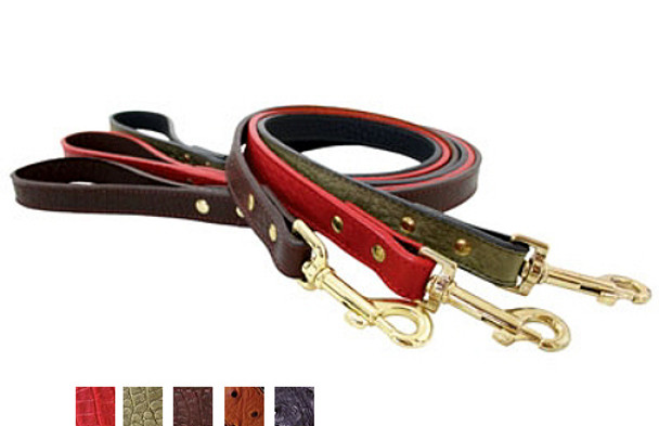 Savannah Reptile Embossed Leather Dog Leads