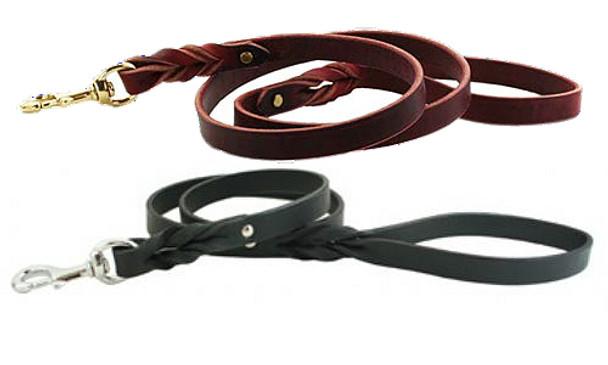 Braided Leather Dog Lead
