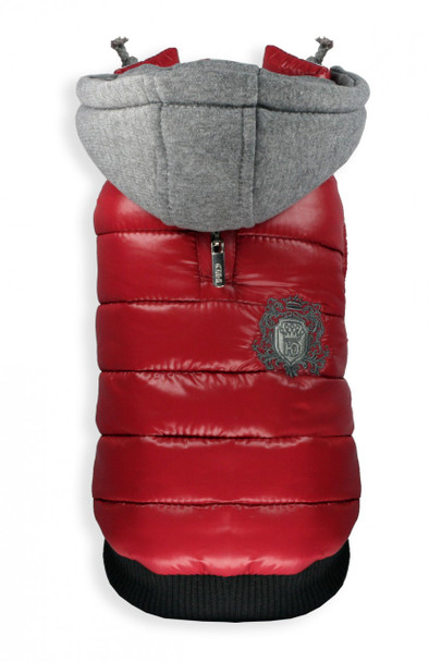 Sporty Red Hooded Puffer Dog Coat