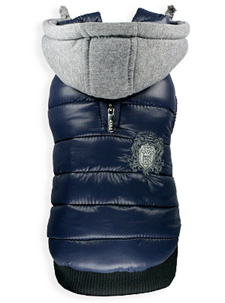 Sporty Navy Blue Hooded Puffer Dog Coat