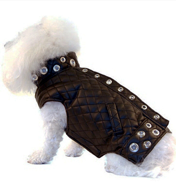 Black Faux Leather Quilted Motorcycle Dog Jacket