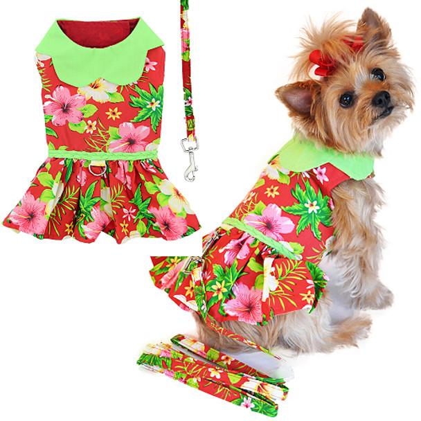 Red Hawaiian Hibiscus Dog Dress with Leash