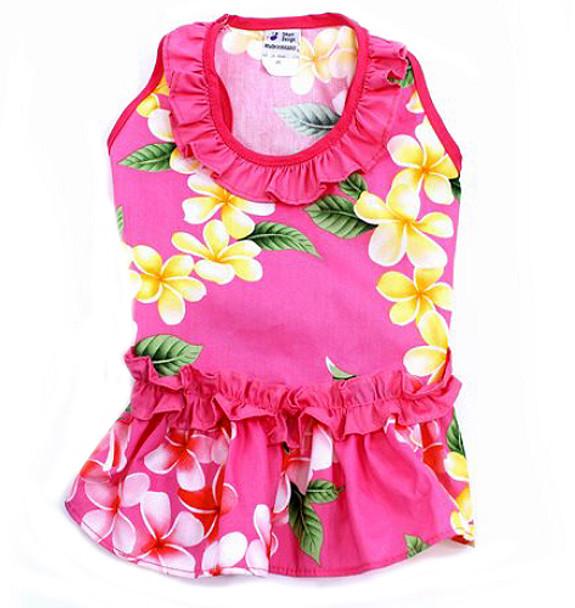 Pink Plumeria Dog Dress