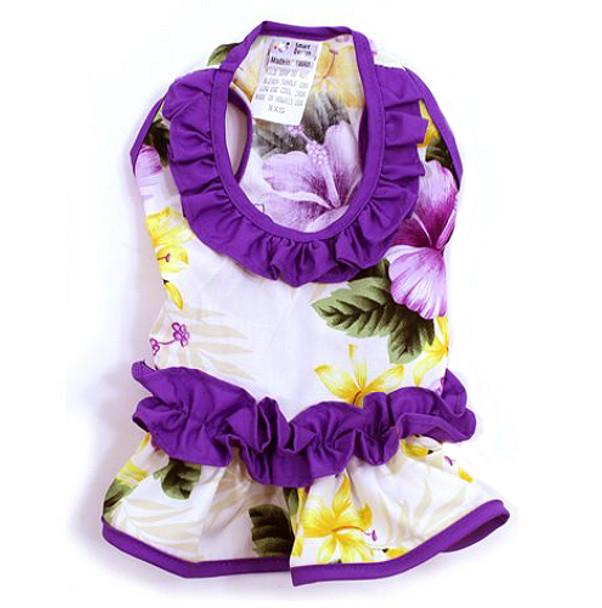 Purple Ruffle Hibiscus Hawaiian Dog Dress