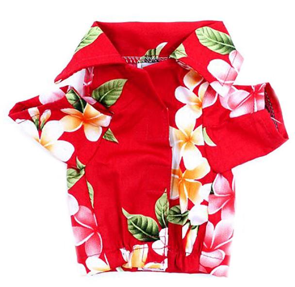 Red Flower Hawaiian Dog Shirt