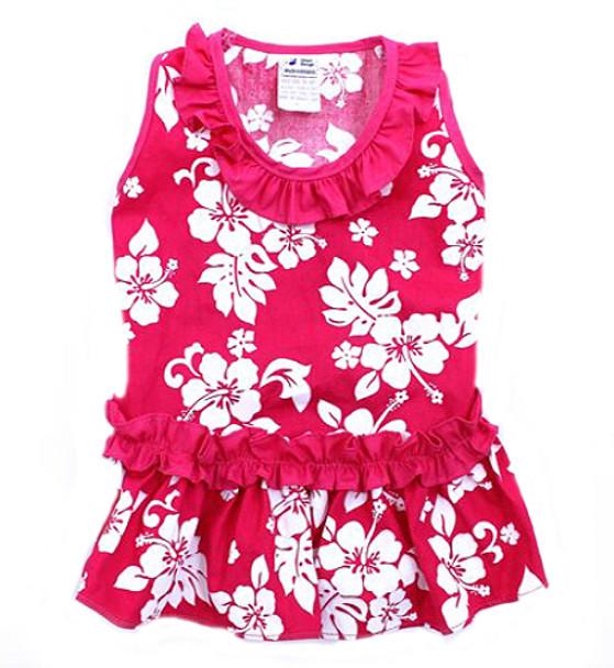 Pink Hibiscus Hawaiian Dog Dress
